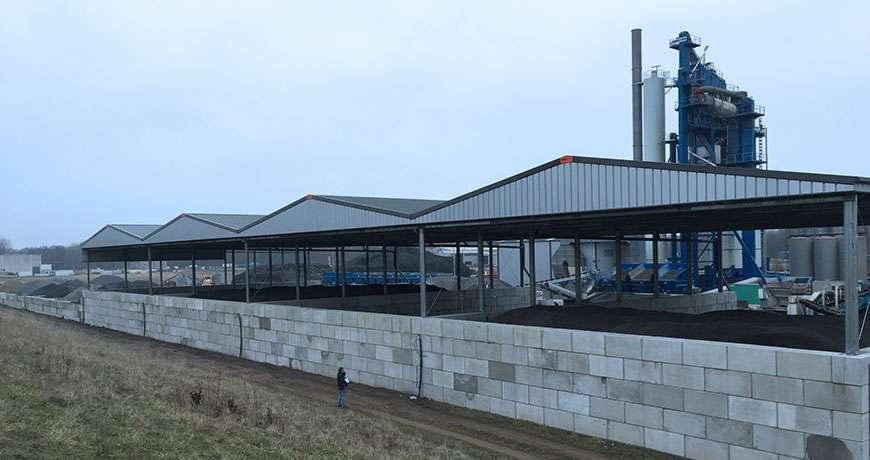 bulk storage steel building brick walls